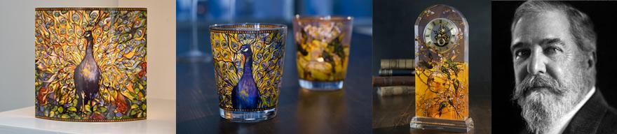 Louis Comfort Tiffany Pfau Tischuhr sichtbares Uhrwerk Echtgold-Dekor