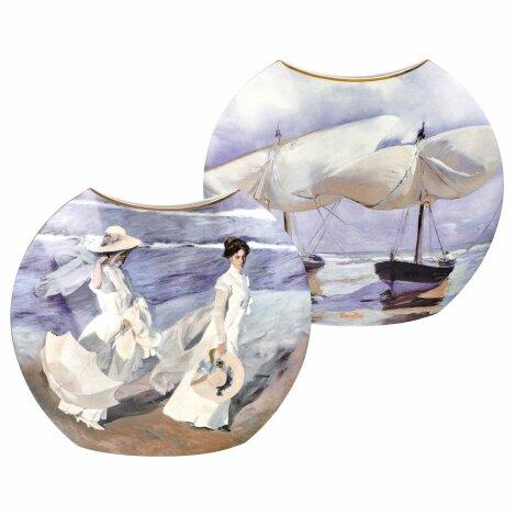 Joaquin Sorolla Vase Boote Spaziergang am Strand zwei Dekore