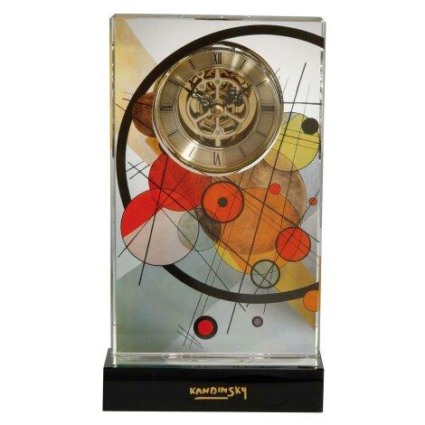 Wassily Kandinsky Kreise im Kreis Tischuhr Kristall sichtbares Uhrwerk