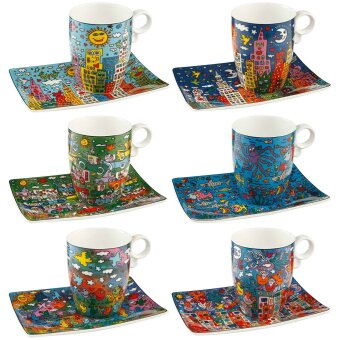 James Rizzi Tassen Becher 6er Set Pop Art 350ml Goebel...