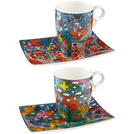 James Rizzi Becher 2er Set Up Down and Fly Around City Birds
