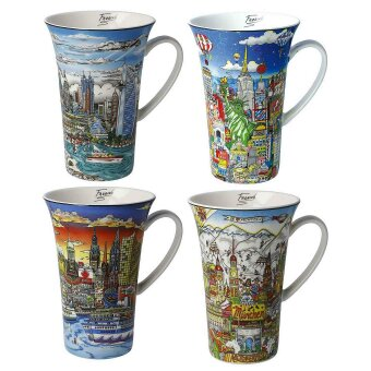 Charles Fazzino Becher 4er Set New York Dubai...